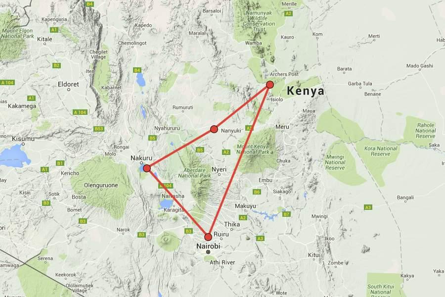 Mount Kenia Karte.Der Wilde Norden